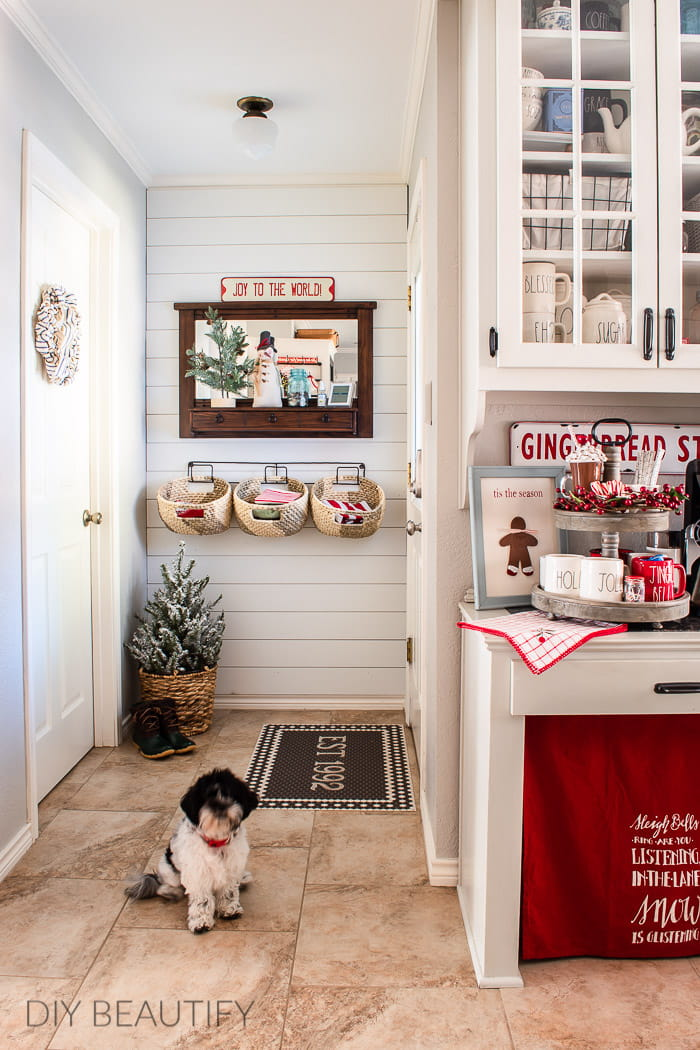 farmhouse Christmas kitchen with hot cocoa bar