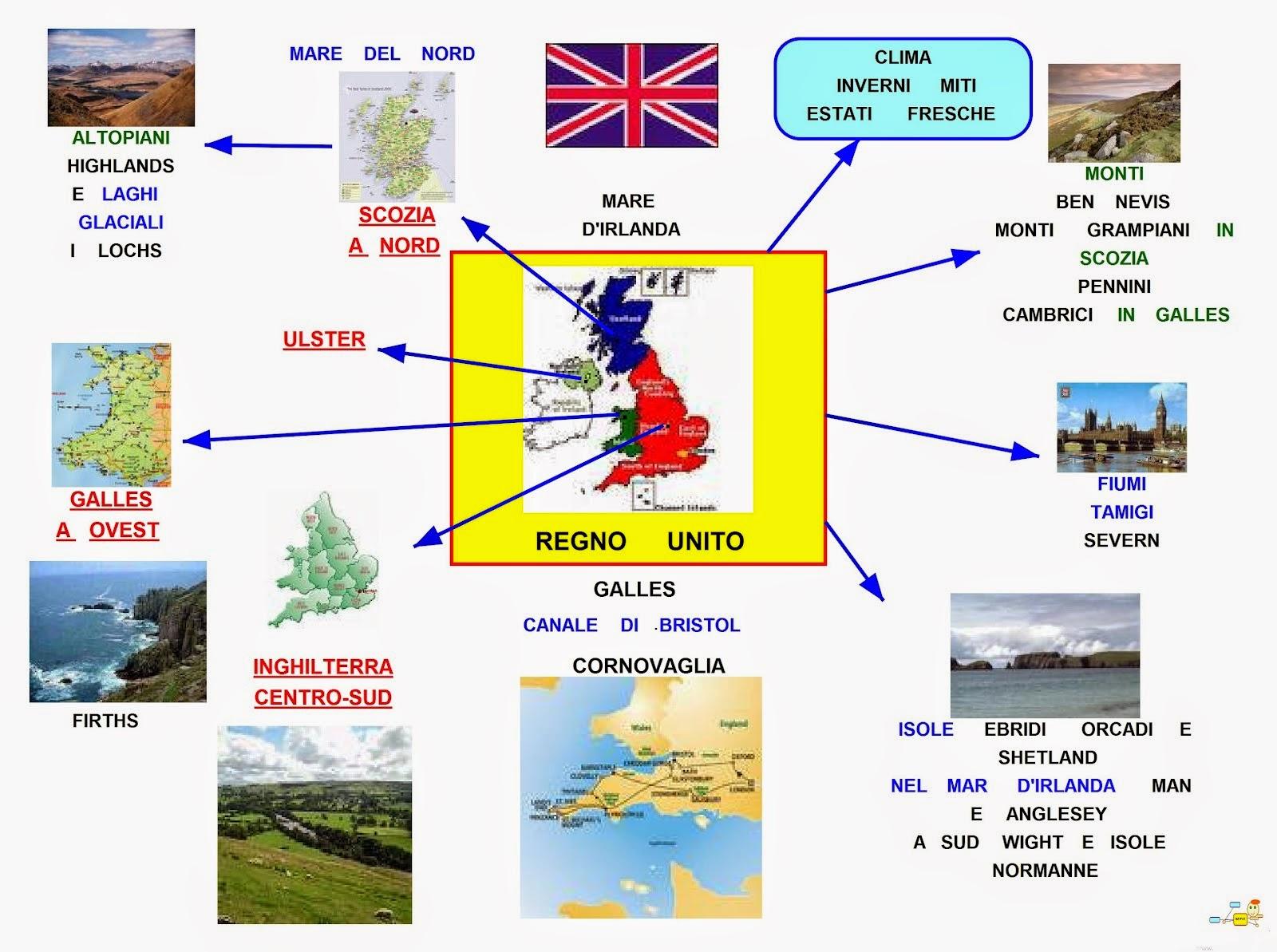 Cartina Inghilterra E Scozia.Mappa Concettuale Regno Unito Geografia Scuolissima Com