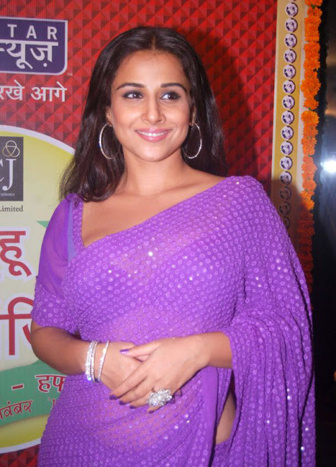 Vidya Balan Navel Show Photos In Violet Saree