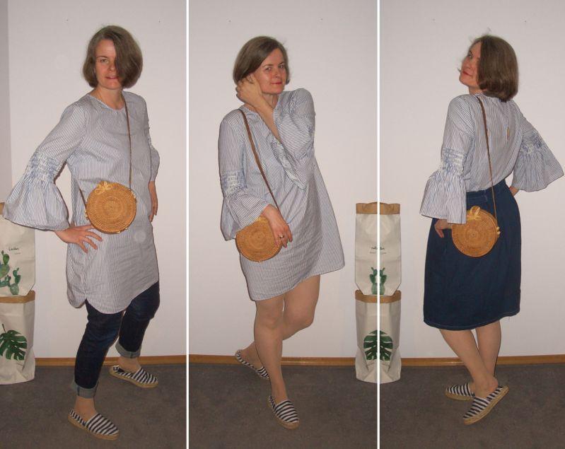 Tunikakleid pur, mit Jeans und Jeansrock plus Beige kombiniert