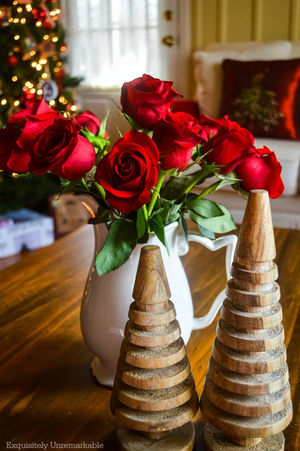 Red Roses For Christmas In The Living Room