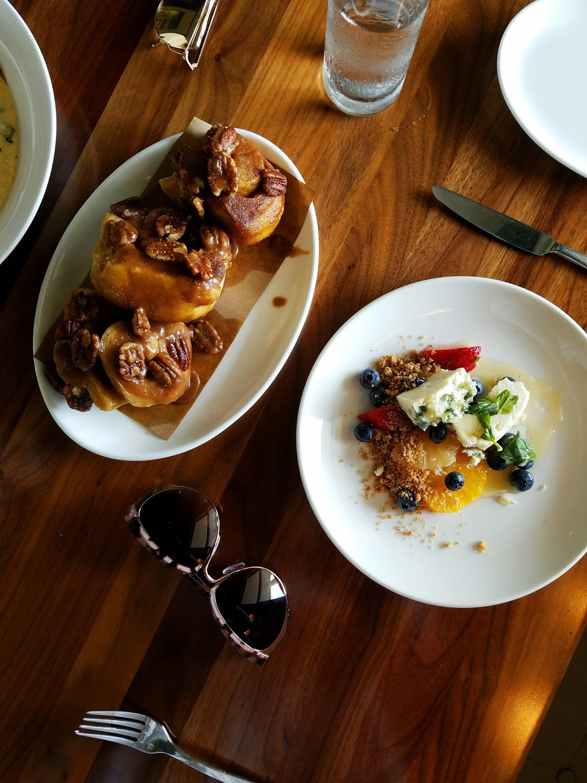 Sticky Buns and Fruit and Cheese Plate at Hotel Ella