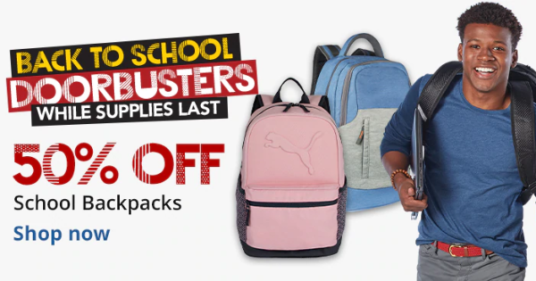 50% off on back-to-school backpacks