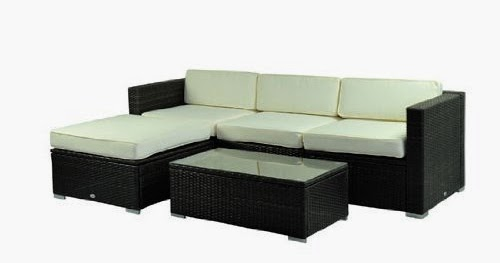 Outsunny Deluxe Outdoor Patio PE Rattan Wicker 5 pc Sofa Chaise