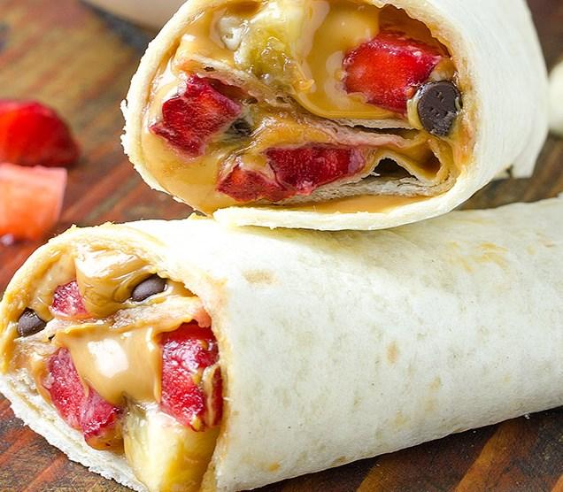 Healthy Peanut Butter, Strawberry, Banana Wrap Recipe #breakfast #healthysnack