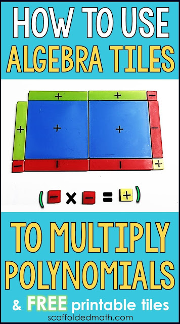 Wondering how to use algebra tiles to multiply polynomials? Algebra tiles are perfect for making abstract concepts more concrete for our hands-on and visual learners. In this post are 2 examples with pictures for using algebra tiles to multiply polynomials.