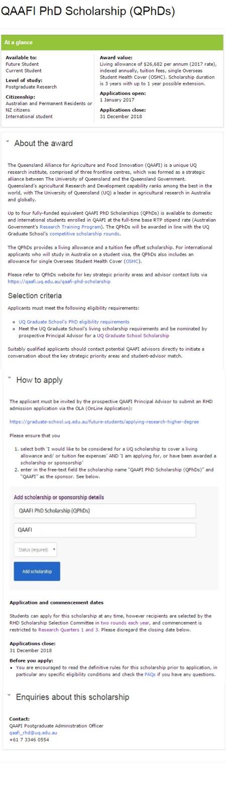 QAAFI PhD Scholarships for International Students at UQ in Australia