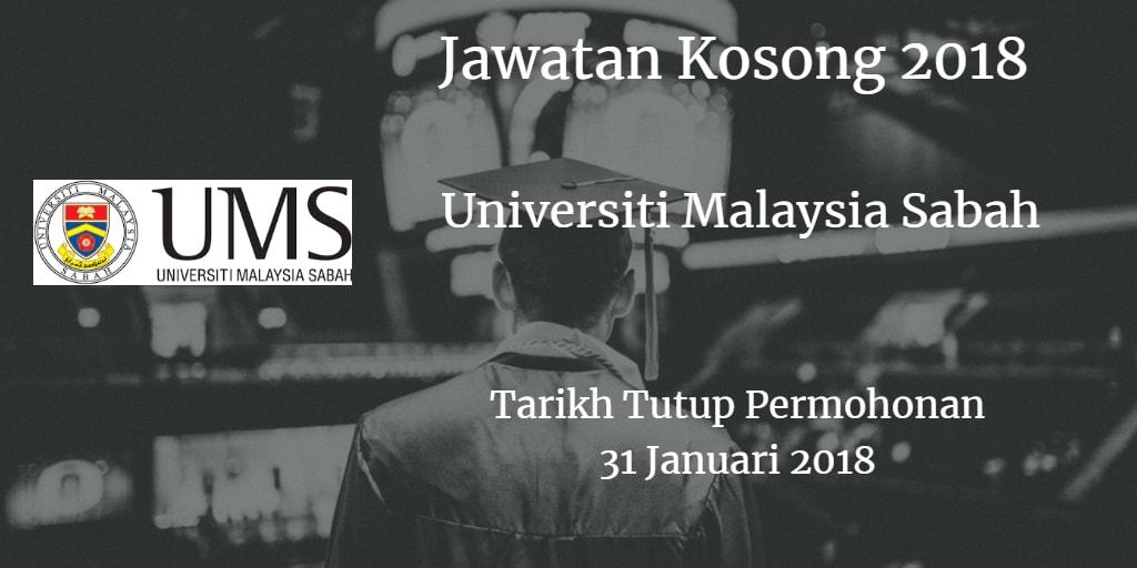Jawatan Kosong UMS 31 Januari 2018
