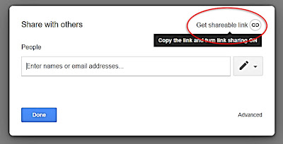 Once you have a Google Slides activity in your Google drive that you would like to share, you'll want to right click on the file and choose share. This window will pop up: