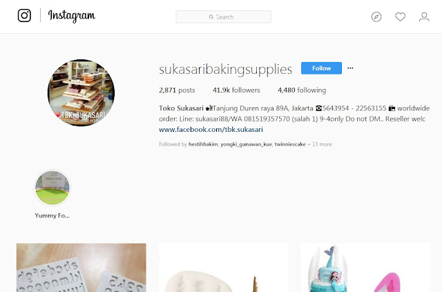 Sukasari Baking Supplies - Toko Bahan Kue Online Instagram