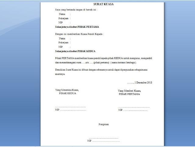 Contoh Surat Kuasa Kepada Orang Lain Atas Kewenangan Dokumen Penting