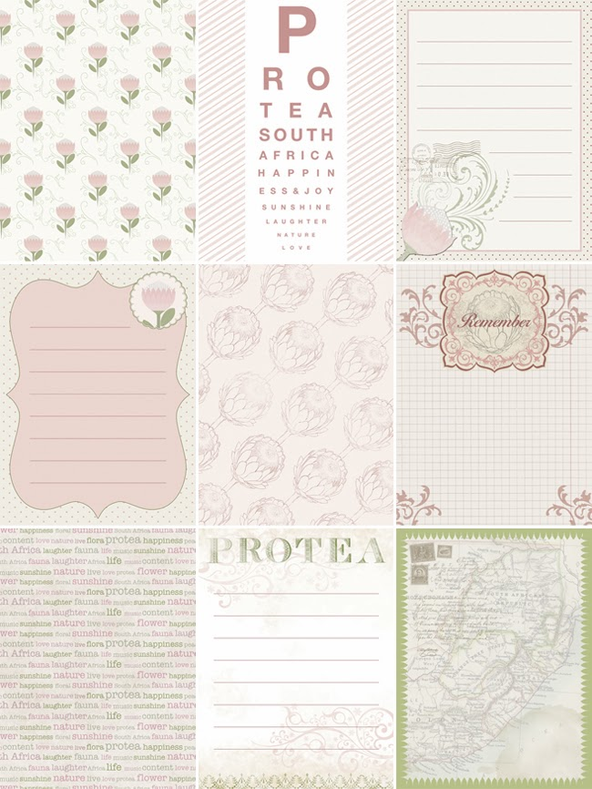 Happiness is... Custom Designed Protea Themed Scrapbooking Pack - journaling cards