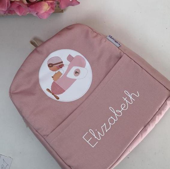 mochila infantil personalizada vuelta al cole -rosa