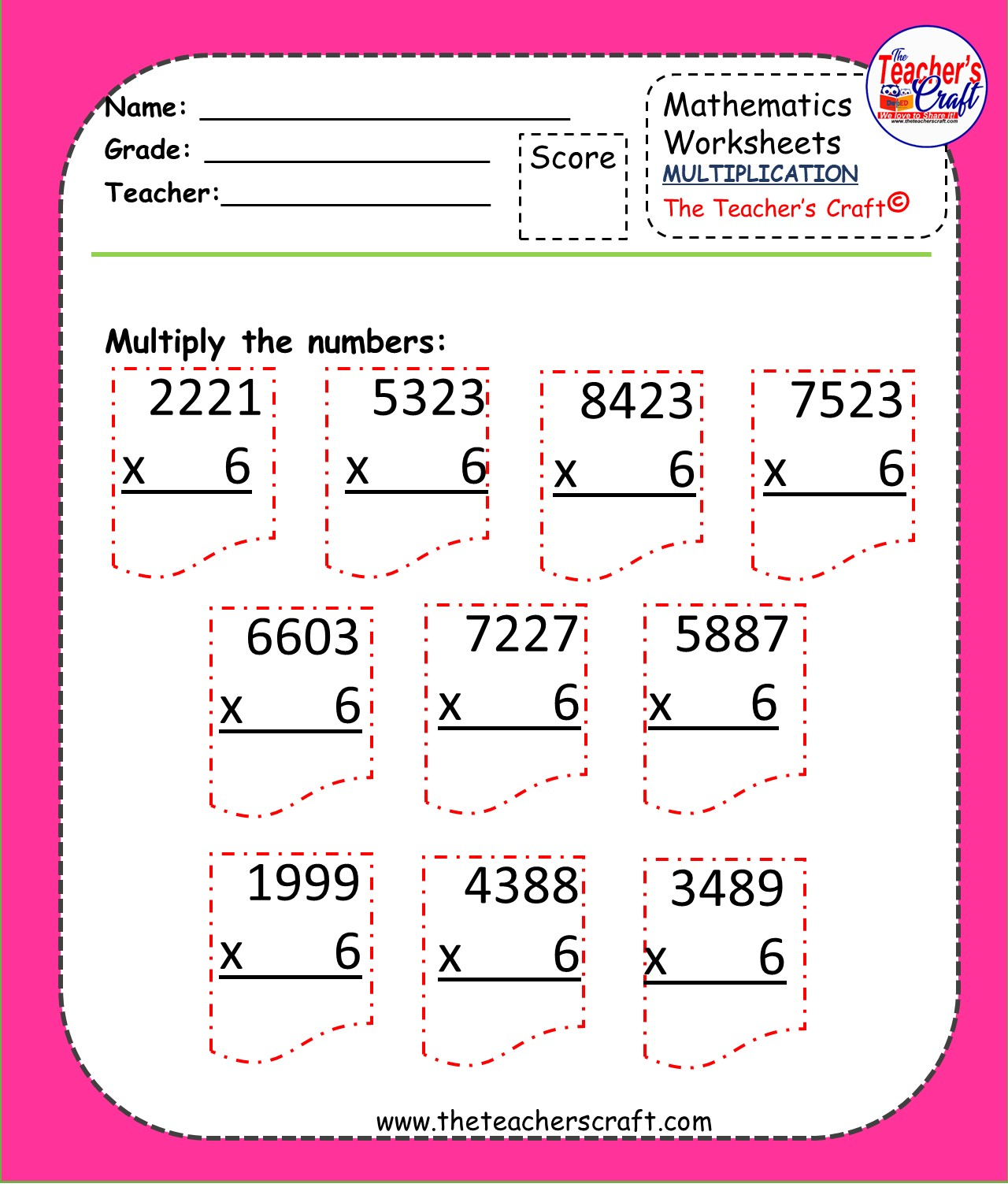 Multiplication Worksheets 3 Amp 4 Digits By 1