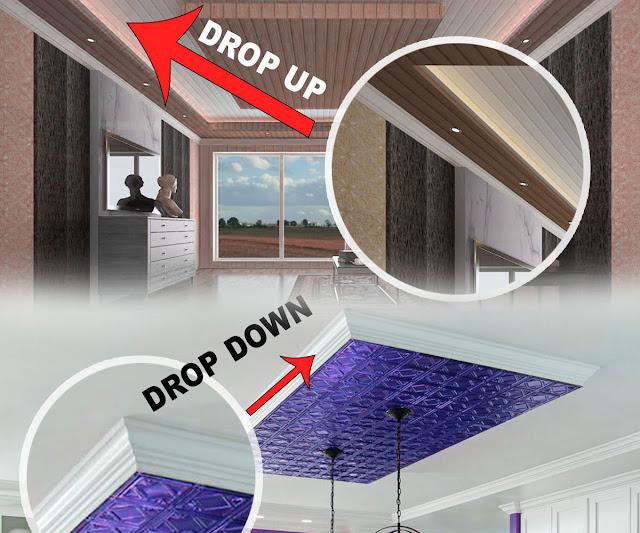 Jasa Pasang plafon Desain Drop Up dan Drop Down
