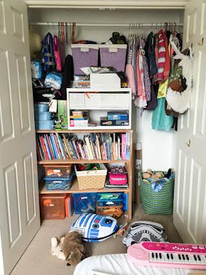 Messy kids closet befpre