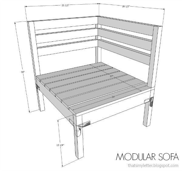 DIY modular sofa and ottoman free plans