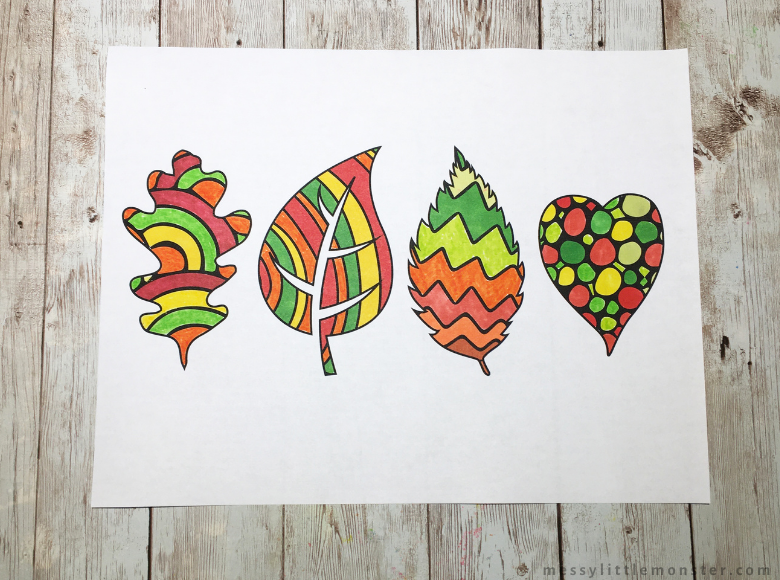 printable leaf template to colour
