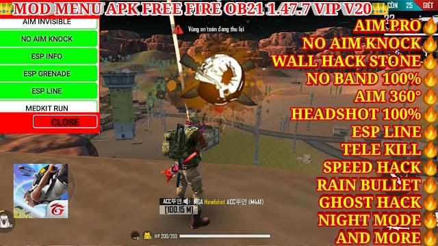 DOWNLOAD MOD MENU APK FREE FIRE OB21 VIP V20 FREE - NO AIM KNOCK, HEADSHOT 100%, GHOST HACK, NO BAND.