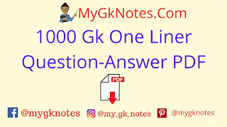 1000 Gk One Liner Question-Answer PDF