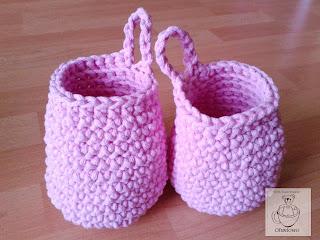 Różowe koszyki ze sznurka bawełnianego - Ofuniowo