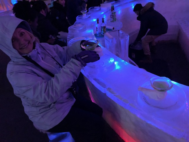 Resident Astronomer Peggy enjoys martini at Chena Hot Springs Ice Museum (Source: Palmia Observatory)