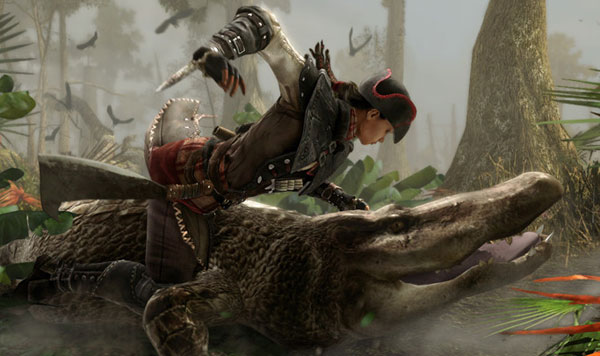 Aveline slaying a alligator in AC3 Liberation remastered