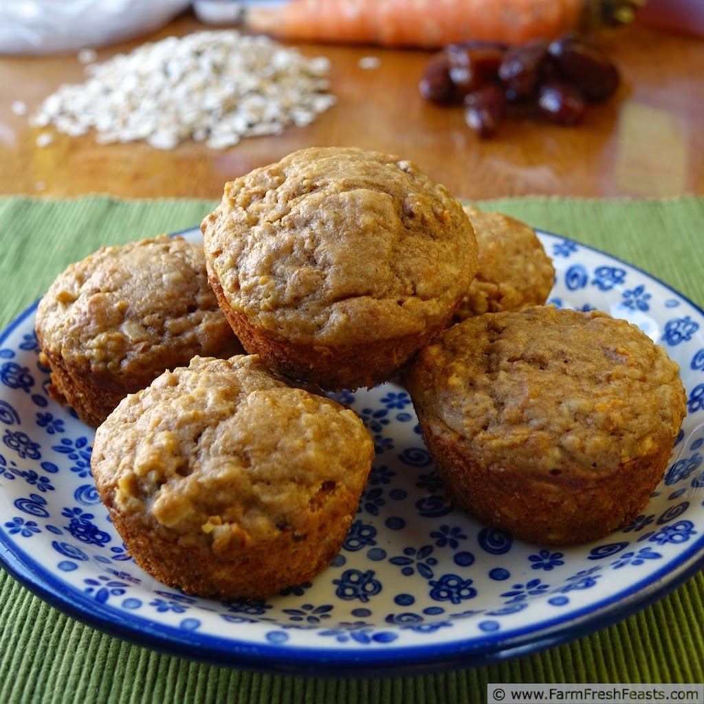 a plate of carrot cake whole grain muffins made with dates, raisins, honey and maple syrup for sweetness.