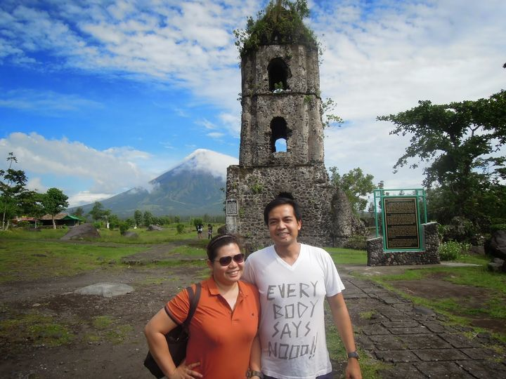 In front of Cagsawa Ruins in Albay