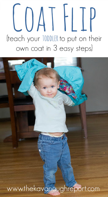This perfect Montessori practical life teaches toddlers how to put on their coats. This easy coat flip trick can be used with the youngest kids.