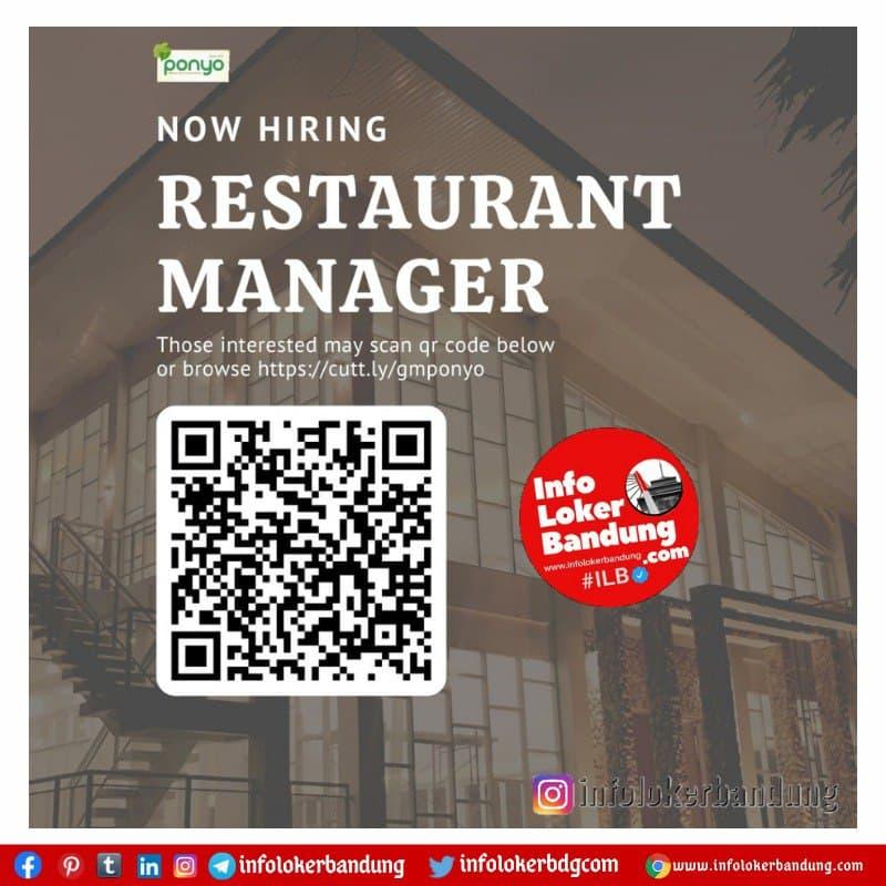 Lowongan Kerja Restaurant Manager Ponyo Resto & Wedding Bandung Mei 2021