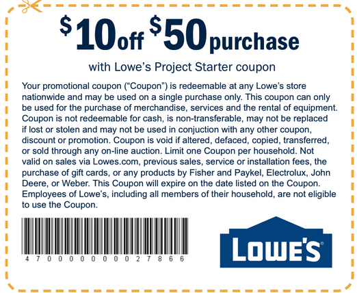 Lowes 10 Off Coupon Printable Free
