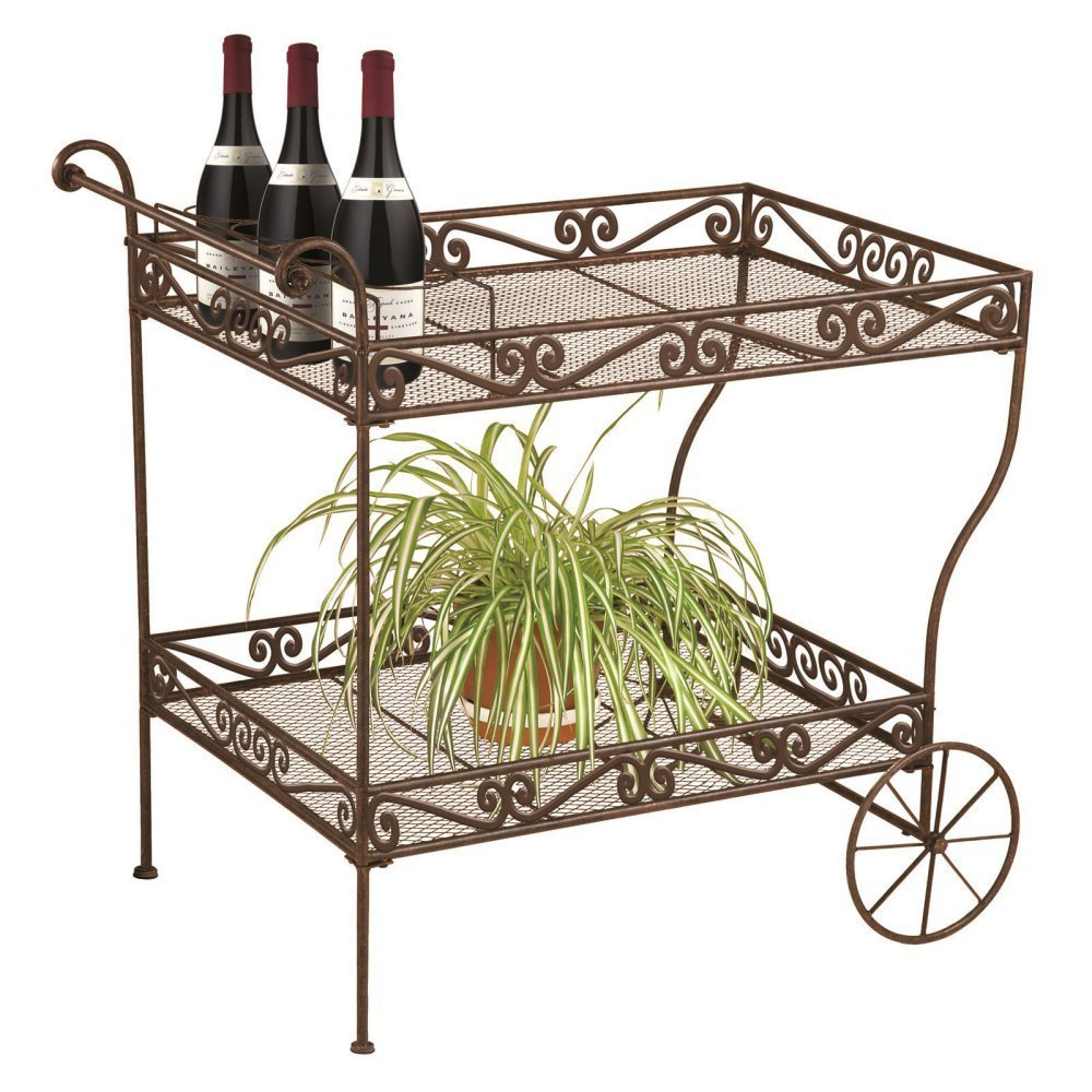 Wrought Iron Style Rolling Outdoor Patio Serving Trolley Cart On Wheels
