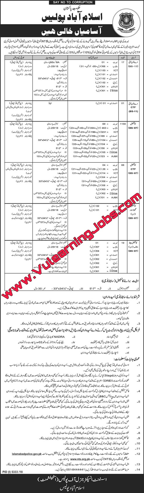 Islamabad Police Jobs May 2019 for ASI's & Constables NTS Application Form Download Latest (1262+ Posts)