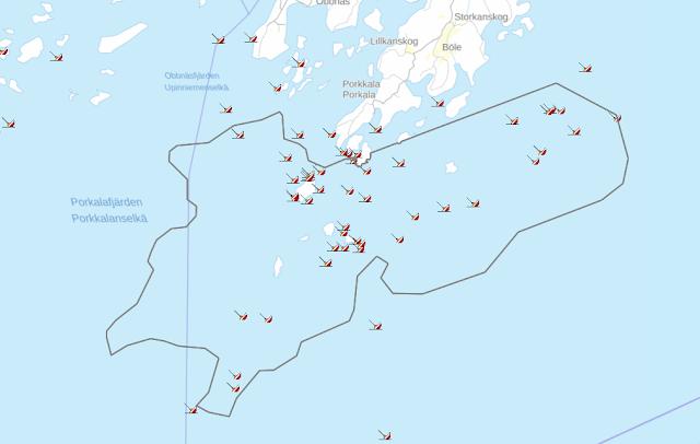 Karttakuva Porkkalan alueesta, jossa on hylkysymboleita, jotka kuvaavat alueen tunnettuja hylkyjä.