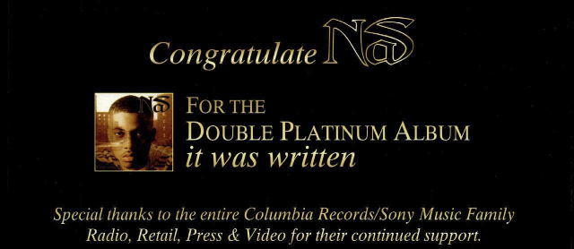 Nas It Was Written Double Platinum Advertisement