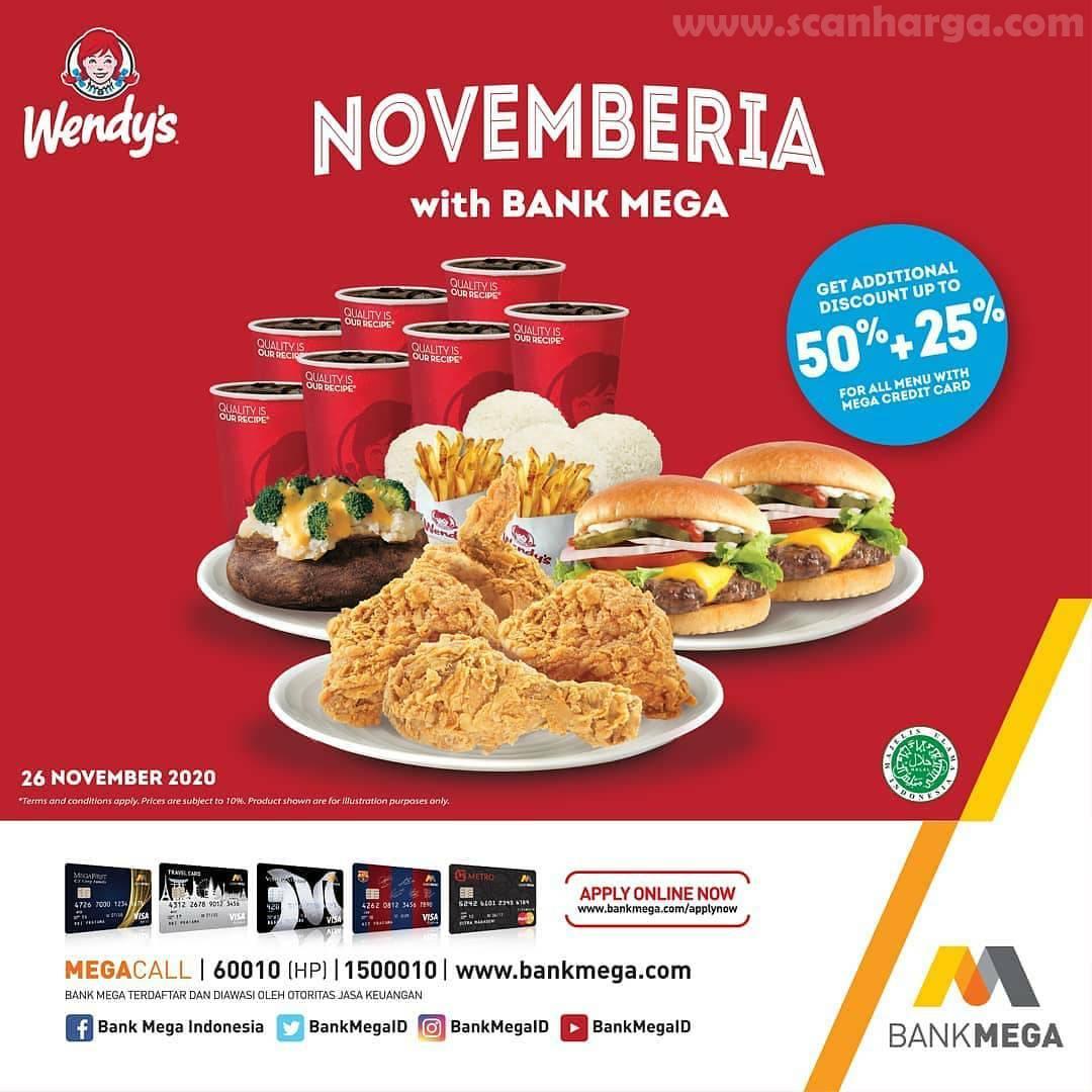Wendys Promo Diskon 50% + 20% dengan Menggunakan Kartu Kredit Bank Mega