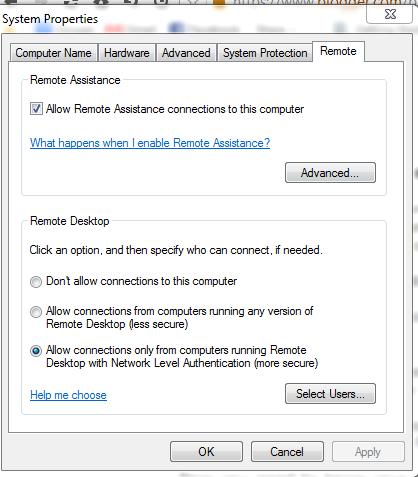 remote settings in wondows 7