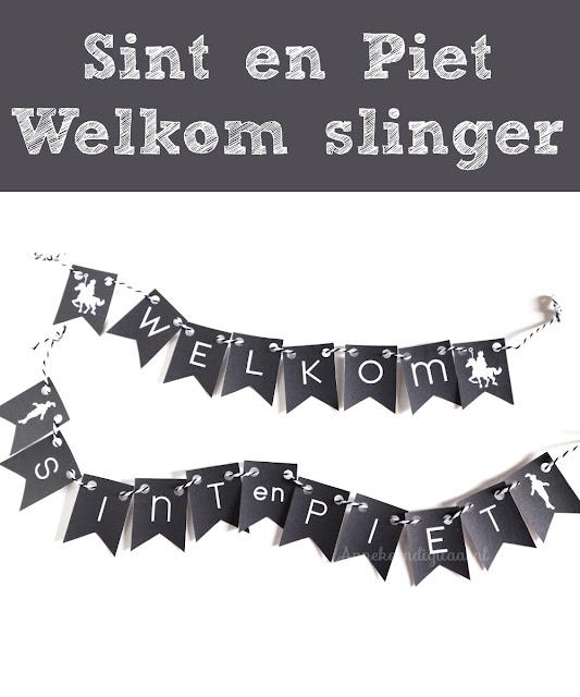Welkom slinger Sinterklaas printen, slinger sinterklaas zelf maken, sinterklaas knutselen, sinterklaas printables, printen voor sinterklaas, sint printable, gratis sinterklaas printable