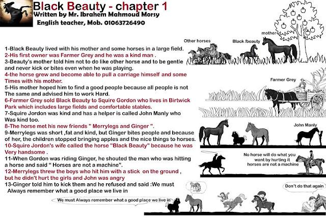 تلخيص قصة بلاك بيوتي ترم اول في 3 ورقات Black Beauty