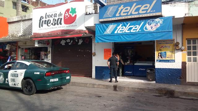 Un herido en violento asalto a tienda Telcel en pleno centro de Martínez