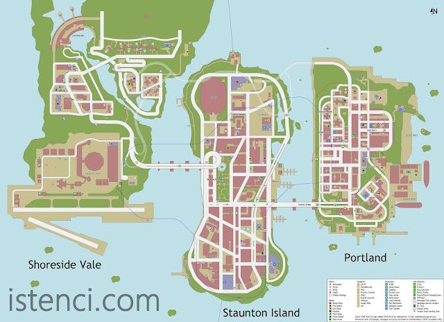 Grand Theft Auto III (GTA 3) Liberty Şehrinin Haritası