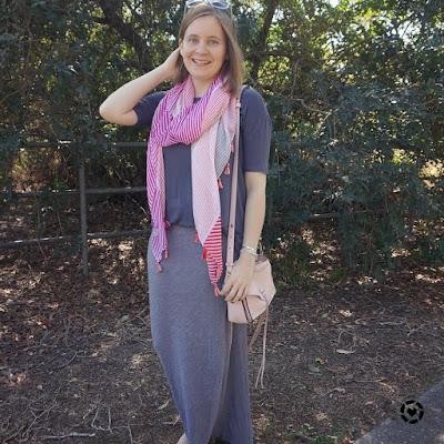 monochrome grey pinstripe maxi skirt tassel scarf pink rebecca minkoff darren bag spring playground style