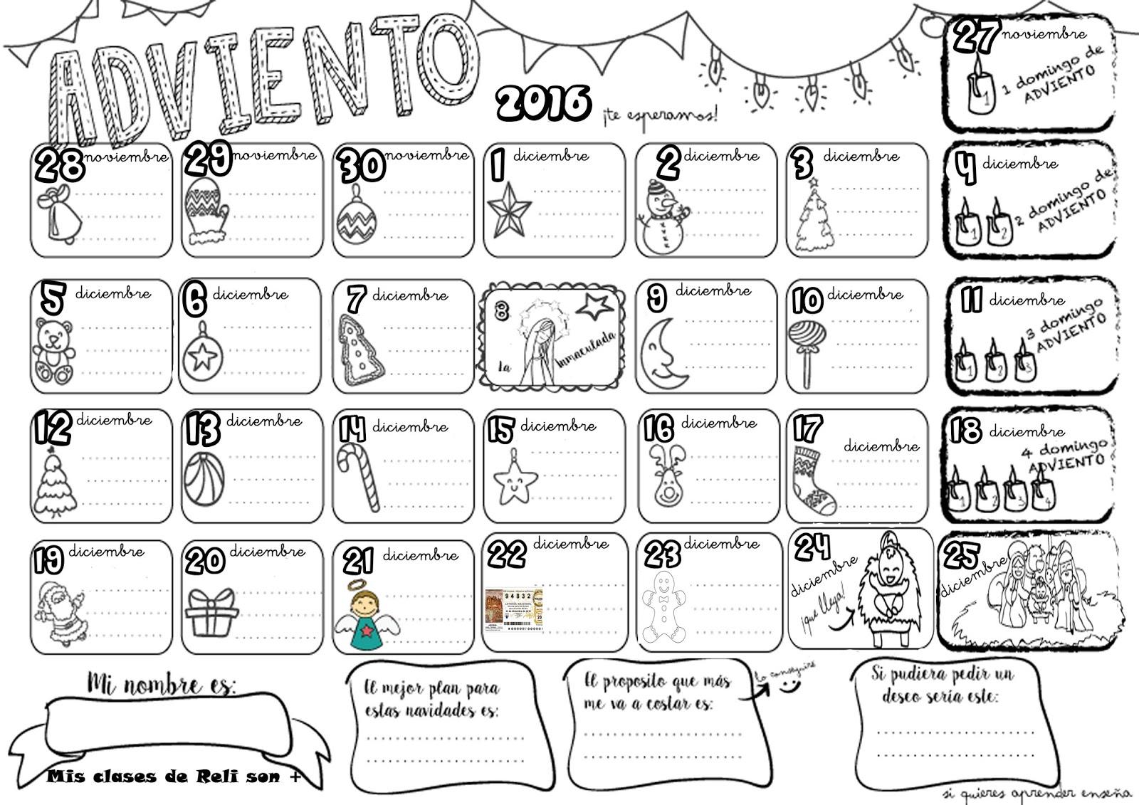 Mis clases de reli son calendario de adviento 2016 for Calendario adviento 2017