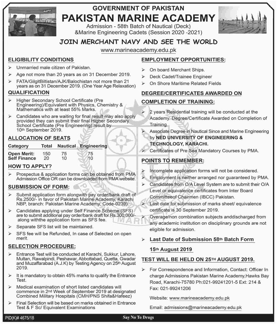 Pakistan Marine Academy Jobs 2019