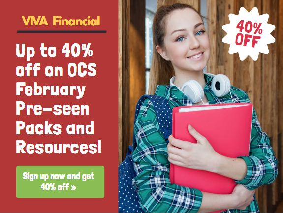 Up to 40% off from VIVA Financials for OCS May 2020 Pre-seen Packs and Resources