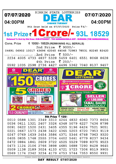Sikkim State Lotteries 07-07-2020 Lottery Sambad Result 04:00 PM