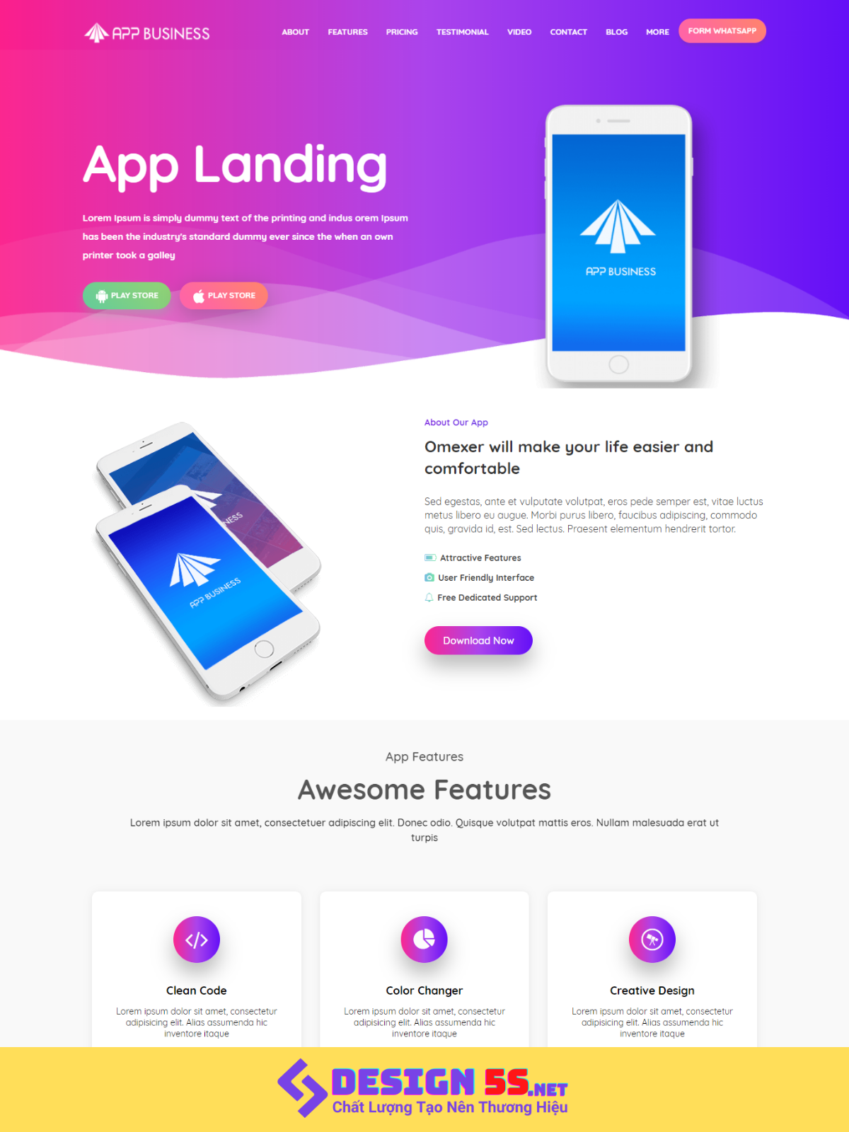 Template BLogspot landing App Business VSM68