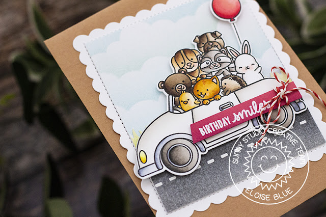 Sunny Studio Stamps: Cruising Critters Frilly Frames Sunny Sentiments Birthday Card by Eloise Blue