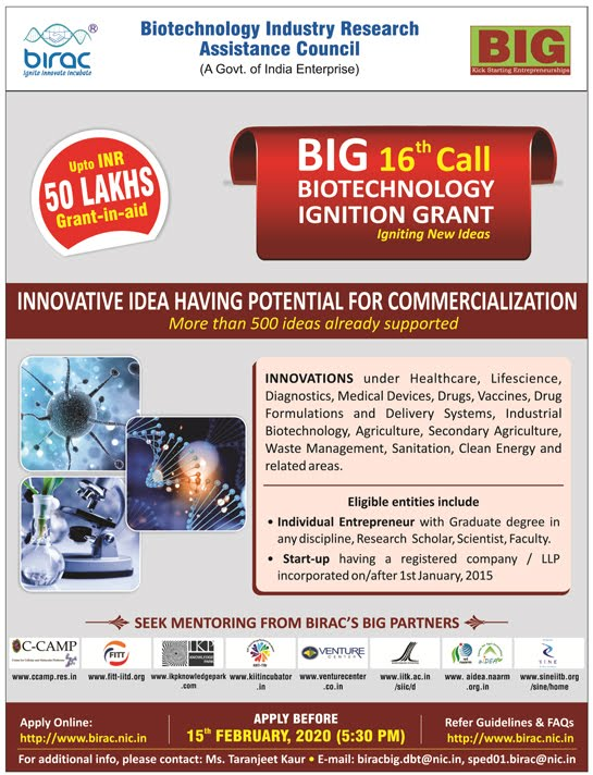 BIRAC BIG 16th Call Biotechnology Ignition Grant Ad Image